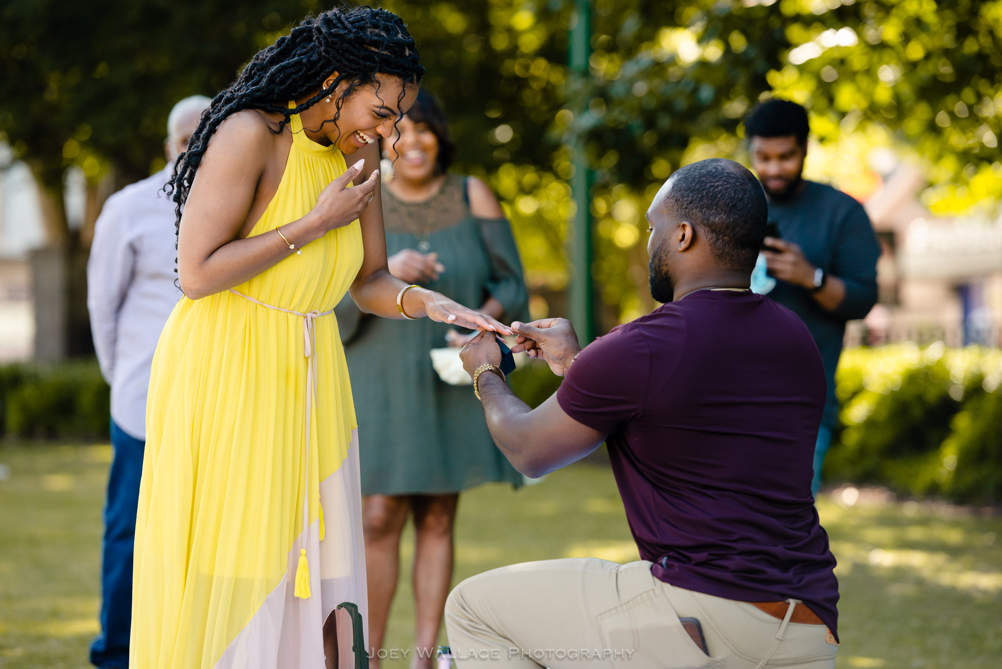 African American wedding proposal at the Centennial Park in Atlanta